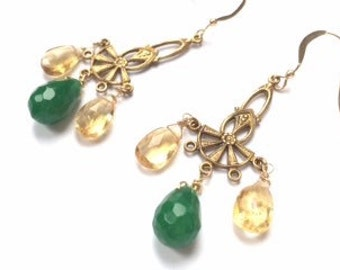 Vintage Brass Filigree Chandelier Earrings With Yellow Citrine And Green Jade Beads