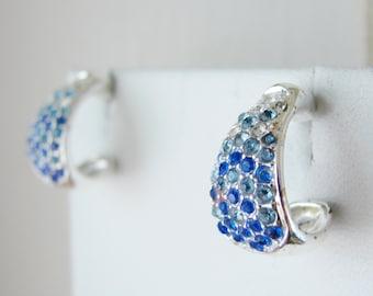 Vintage silver and blue tear drop crystal  earrings (D6)