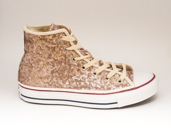 Tiny Sequin | Starlight Champagne Gold Canvas Converse Canvas Hi Top Sneakers Tennis Shoes