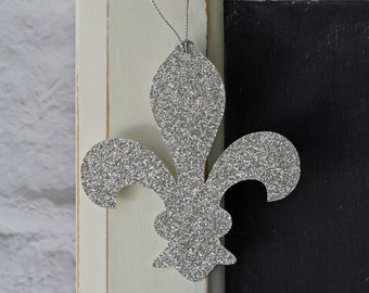 Fleur de lis Glitter Wedding Party, Thank You or Gift Hang Tags; Sparkly Wishing Tree Tags; Paris Tag; Set of 10 French Tags; Choose Color