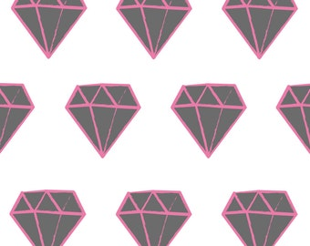ON Sale Fabric Wall Decal - Diamonds (Pink & Grey) (reusable) NO PVC