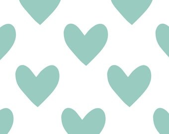 Fabric Wall Decal - Hearts (Duckegg) (reusable) NO PVC