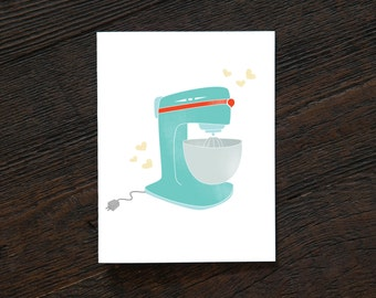 Greeting Card All Occassion Everyday - Vintage Mixer - inspired, bake, bakery, chef, sweets, cake, kitchen, mom, frame, pyrex (313/205/165)