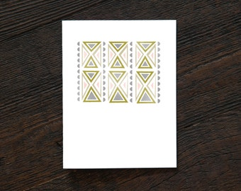 Simple Modern Pattern Greeting Card - Blush Art Deco - geometric, diamond, pink, gold, art deco, everyday, thank you, note (GEO155)