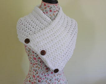 White Boston Harbor Scarf, Handmade Knit 3 Button Scarf Cowl Collar Neck Warmer, Bohemian Scarf, Chunky Cowl, Hippie Scarf