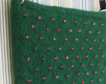 Green Wool with Red Beaded Purse Hand Knitted Felted Custom Lined
