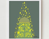"""Inspirational Quote Print Typographic Art """"LEMON DROPS"""" 8x10 Yellow and Blue Motivational Typographic Poster"""