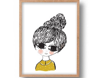 Wall Art Print Digital Illustration Young Girl Portrait Digital Drawing Wall Decor Illustration Girl Portrait Poster Drawing Wall Art Print