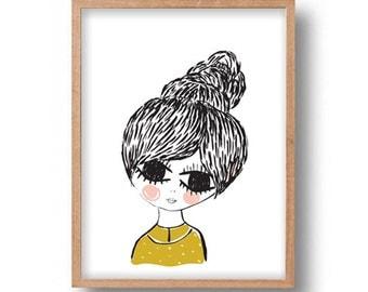 Wall Art Print Digital Illustration Young Girl Portrait Digital Drawing Wall Decor Illustration Girl Portrait Poster Drawing Wall Art Print