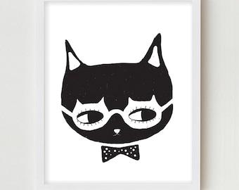 Black and White Art Decor Kitten Illustration Cat Art Print Kitten Wall Decor Glasses Bowtie Kitten Portrait Modern Minimalist Art Poster