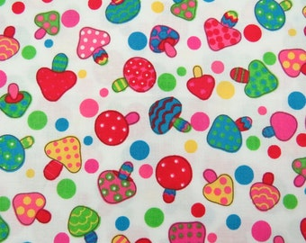 2617A -- Lovely Retro Mushroom and Dot Fabric in Creamy White
