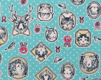 2625B -- Animals Portrait Fabric in Turquoise, Animal Fabric, Cat, Rabbit, Deer, Bear, Bird, Polka Dots