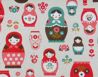 2632C -- Retro Kawaii Matryoshka Doll Fabric in Red/Green Combo, Russian Doll Fabric, Babushka Fabric, Doll Fabric