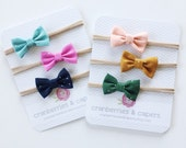 Mini Fall Fabric Bows- Set of 3 on Nude Nylon Headband