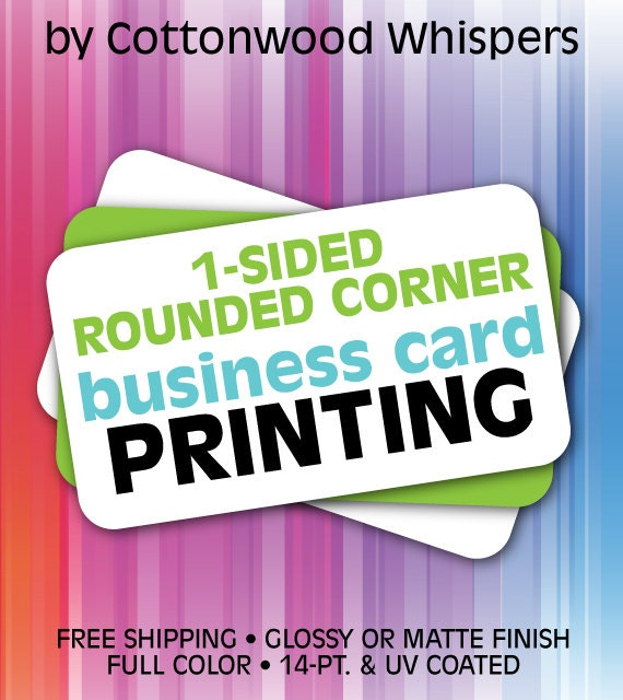 Custom 1 Sided Business Cards ROUNDED Corners - Printing and Design - FREE SHIPPING