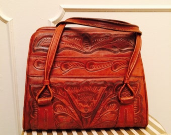 Vintage 40s 50s Tooled Leather Hand Bag FREE US Shipping