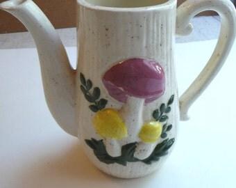 Vintage Pitcher, Mushroom Pitcher, Ceramic Pitcher, Home Decor, Vintage Kitchen, Collectibles, Vintage Colors, Vintage Housewares,Retro
