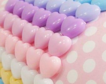 Kawaii Bracelet Pastel Bracelet Fairy Kei Jewelry Stretch Bracelet Pastel Hearts Stacking Bracelet Sweet Lolita Retro Jewelry for Teens