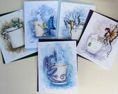 SALE Fairy Dragon coffee tea folded card set by Amy Brown
