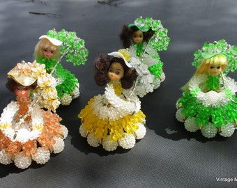 Vintage Bead Dolls with Parasols Set of 5