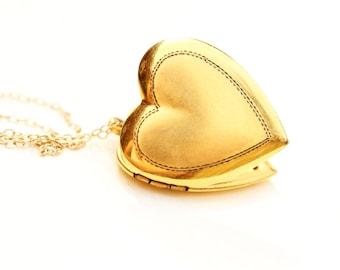 Vintage Gold Filled Heart Locket Necklace