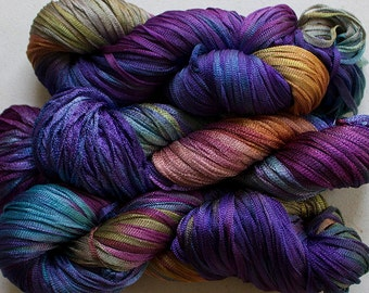 Moonbeam, Hand dyed ribbon yarn, 150 yds -Vineyard
