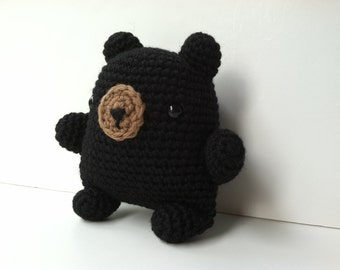 Amigurumi Crochet Black Bear Plush Toy Stuffed Animal Teddy Bear Kawaii Plush Gifts Under 25 Black Bear Plushie Woodland Bear Gift For Kids