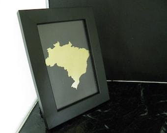 BRAZIL Art , Framed Outline of Brazil