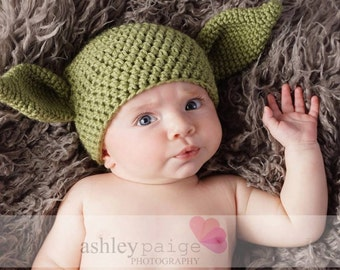 Crochet Star Wars-Inspired Yoda Hat/ Photo Prop for Babies, Boys, Girls, Teen/Adult