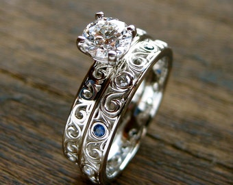Solitaire Diamond Engagement Ring and Matching Wedding Band in Platinum with Blue Sapphires & Fine Scroll Work Size 7