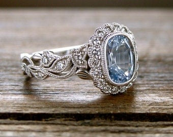Blue Sapphire Engagement Ring in 14K White Gold with Diamonds in Flower Blossoms and Leafs on Vine Size 7