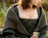 Outlander Claire Rent Shawl Triangle Tweed Highlands Wool, 3 Color Options, Made to Order