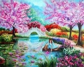 Fine Art Print, Landscape, Pink Cherry Blossom Trees, White Bridge, Water lilies, Floral Garden Pink Hat in Water, k Madison Moore