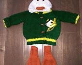 Knitted Oregon Ducks Hooded Baby Sweater with Duck Feet Made to Order