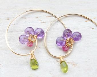 Amethyst Gold Earrings, Nature Inspired Jewelry, Everyday Earrings, Gold Spiral Hoop