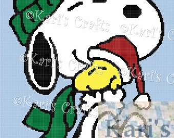 Snoopy and Woodstock Holiday Afghan PDF Pattern Graph + Written Instructions - Instant Download