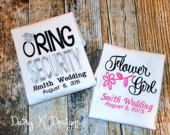 Personalized Wedding Flower Girl and Ring Bearer Shirts  - Set of 2 T-shirts - Choose Your Colors - Embroidered Wedding Date & Last Name