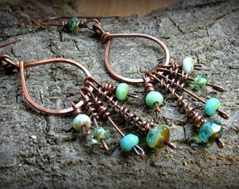 Hammered Copper Hoops with Beaded Curly Que Dangles  Earrings ~ Czech Glass Beaded Dangles