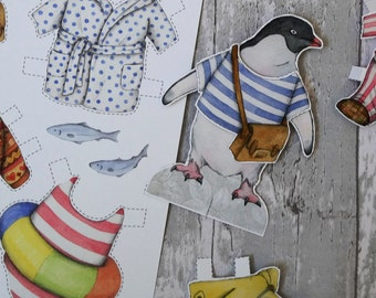 PDF penguin instant download - dress up paper doll penguin with clothes