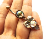 Clear Glass Opal Copper Leaf Belly Button Ring Charm Dangle Jewelry Navel Piercing Long Charm Bellyring Bar