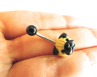Pug Belly Button Ring Navel Stud Jewelry Bar Barbell Piercing Bellyring Dog Puglife Azeetadesigns