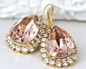 Blush Teardrops Framed with Halo Crystals on Gold Lever Back Earrings