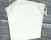 Set of 6 Premium Large Muslin 8 x 10 Drawstring Bags for Favors, Weddings, Parties, or Gifts