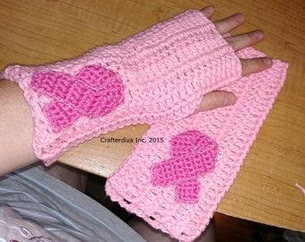 Crocheted Fingerless Gloves, Breast Cancer Awareness Gloves, Handmade Gloves, Hope Gloves