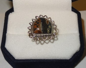 Vintage Sterling Silver and Natural Ocean Jasper Ring Size 8 1/2