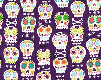 Michael Miller Fabric Bonehead Skulls Amethyst