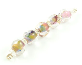 Light Old Roses Pebble Lampwork Beads - Handmade Lampwork Beads - Set of 5 Beads - Pink, Blue, Green, Soft, Sweet, Nugget - MadeByFire