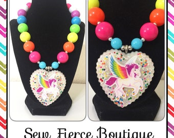 Neon Bright Pegasus Girls Chunky Necklace - Photo Prop - Sparkle Necklace