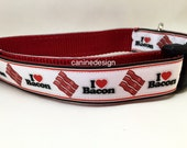 Dog Collar, Bacon,1 inch wide, adjustable, quick release, metal buckle, chain, martingale, hybrid, nylon