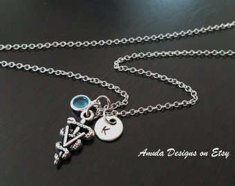 Vet Veterinarian Doctor Handstamped Personalized Crystal Birthstone Initial Necklace